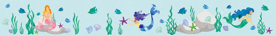 Kinderbordüre mit Meerjungfrauen, Muscheln, Fischen u. Seesternchen in Aquarellart