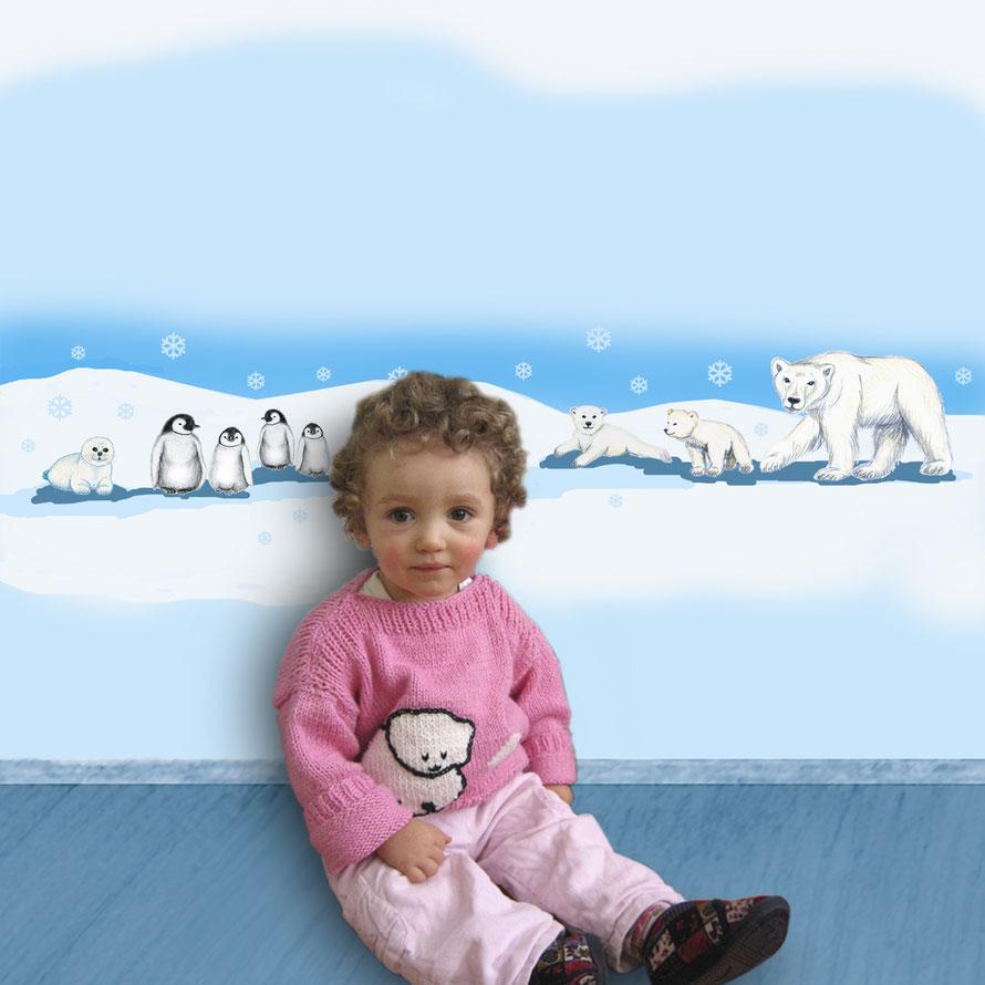 Wandaufkleber-Set Tiere der Polarwelt, Eisbär, Babyrobbe und Pinguine