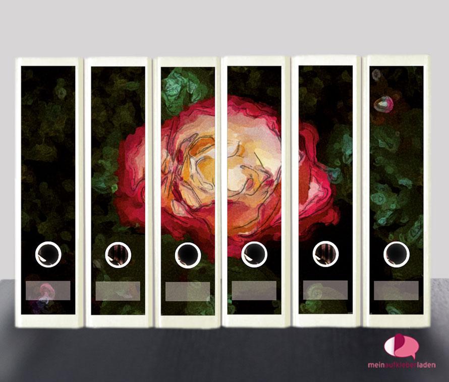liebevoll gestaltete  Ordnerrückenaufkleber für die Schule, Büro, Arbeit oder zu Hause - Rose im Aquarell-Stil