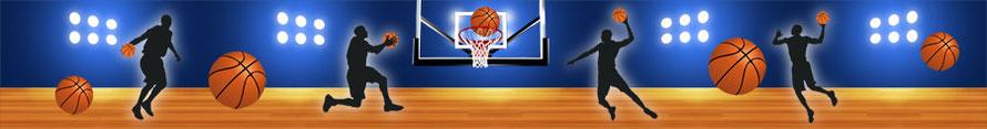 Vliesbordüre mit Basketball und Basketballspielern
