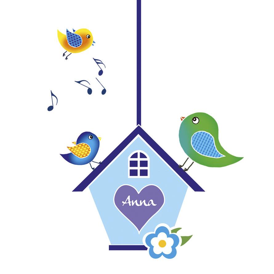 Türaufkleber-Set Vogelhäuschen mit Vögelchen, mit Wunschname personalisierbar