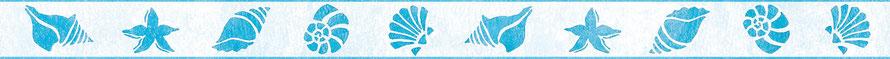 ECO Vliesbordüre mit Muscheln, Schnecken und Seesterne