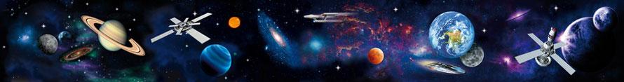 Wandbordüre Weltall mit vielen Planeten, Monden, Raumschiffen und Raumstationen