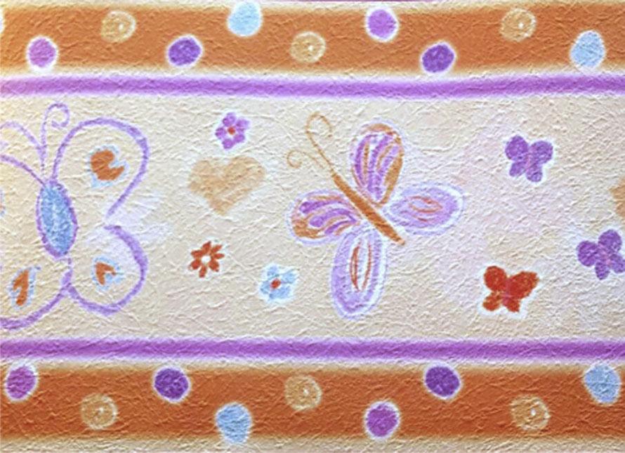 strukturierte Vliesbordüre mit pastellkreise Schmetterlingen und Blümchen - orange - lila - Restposten - Tapetenart nicht mehr im Sortiment