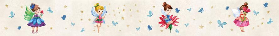Kinderbordüre mit kleinen Blumenfeen - Aquarellart
