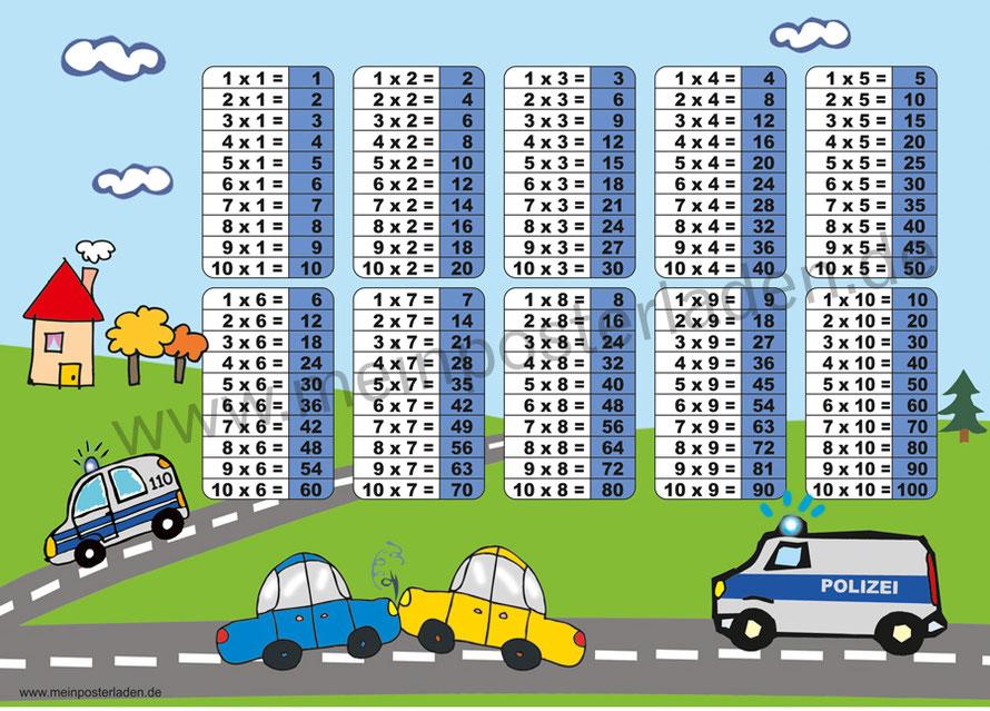 1 x 1 Lernposter für die Grundschule mit Motiv Polizei, optional laminiert