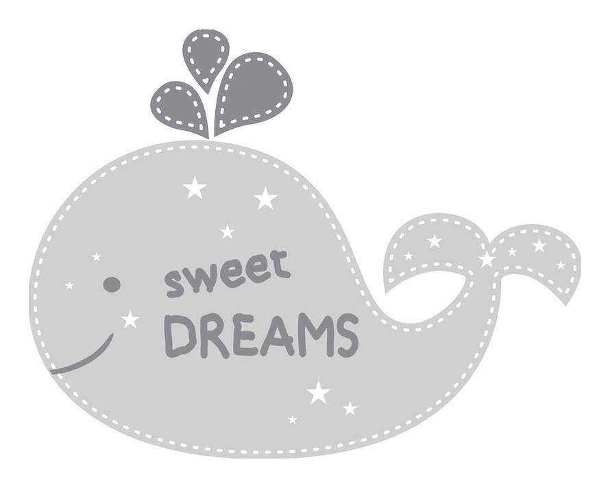 Wandtattoo für Kinderzimmer - niedlicher Wal - personalisierbar mit Wunschname oder Wunschtext