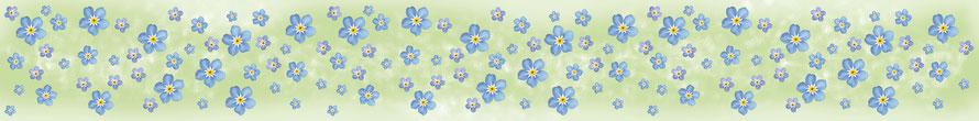 umweltfreundliche Wandbordüre mit romantischen Vergissmeinnicht in Pastellfarben