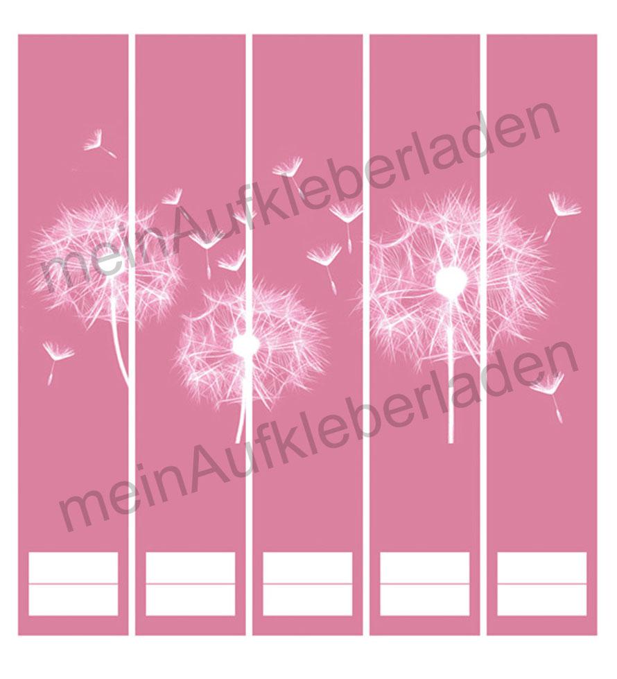 liebevoll gestaltete  Ordnerrückenaufkleber für die Schule, Büro, Arbeit oder zu Hause - Pusteblume