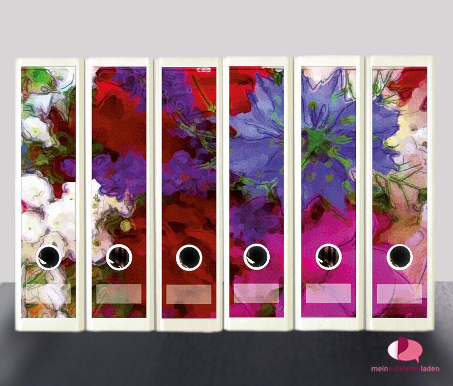 liebevoll gestaltete  Ordnerrückenaufkleber für die Schule, Büro, Arbeit oder zu Hause - Wiesenblumen im Aquarell-Stil