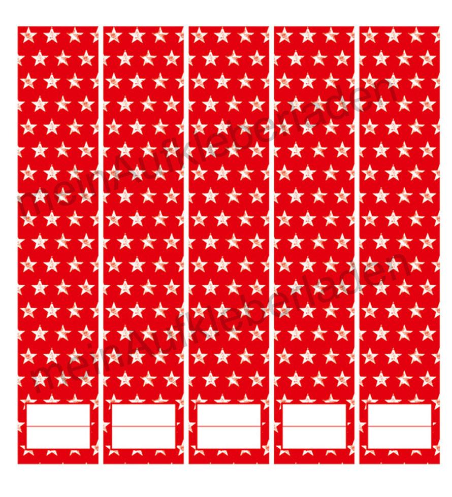 liebevoll gestaltete  Ordnerrückenaufkleber für die Schule, Büro, Arbeit oder zu Hause - Sterne
