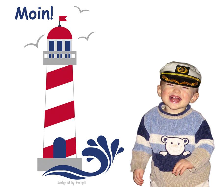 Wandaufkleber Leuchtturm  mit Möwen, Wellen und norddeutschen Gruß: Moin!