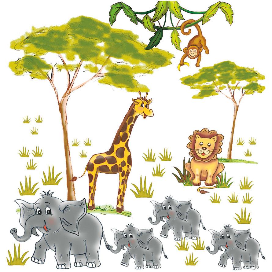 Wandaufkleber mit Afrikatieren - handgemalte Motive - Giraffe, Löwe, Elefanten, Affe