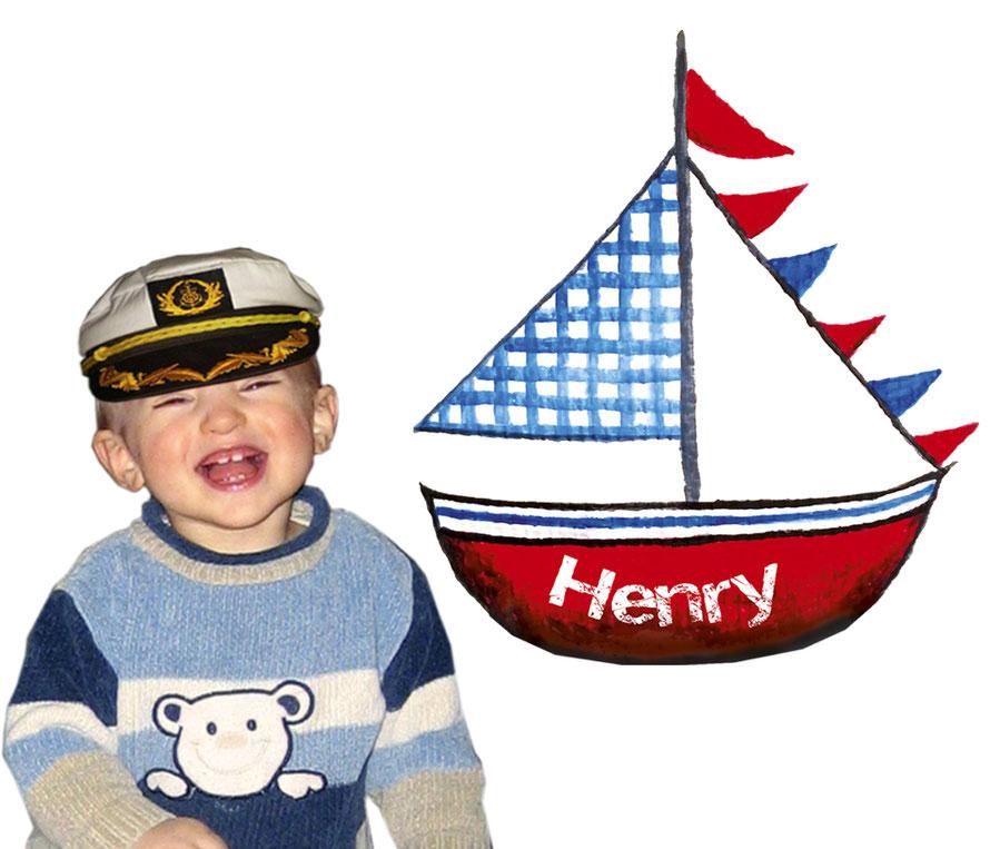 Wandaufkleber Segelboot mit Name personalisierbar