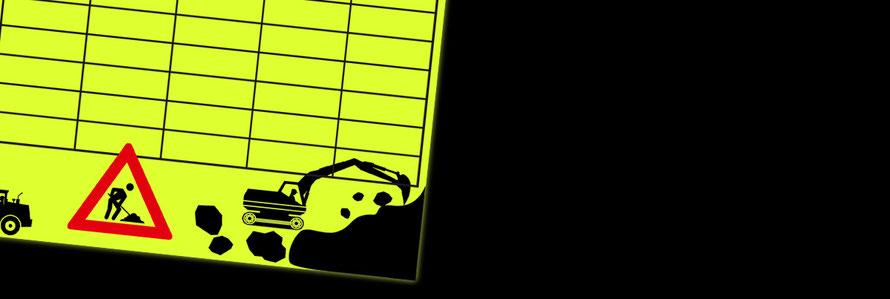 Stundenpläne und Lernposter für Kinder auf Neonpapier