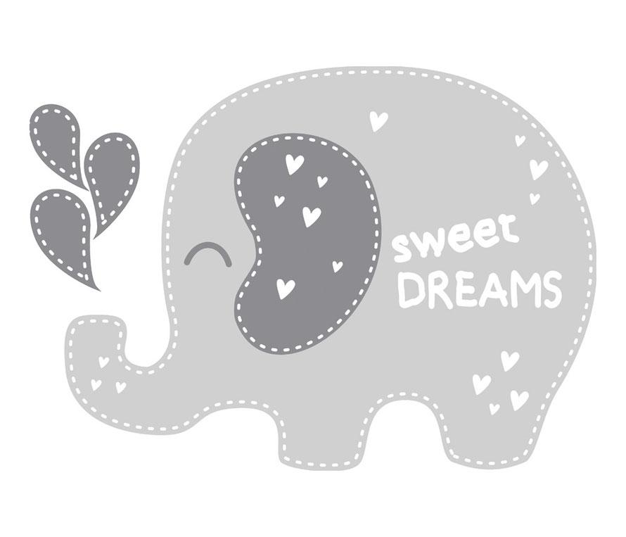Wandtattoo für Kinderzimmer - niedlicher Elefant - personalisierbar mit Wunschname oder Wunschtext