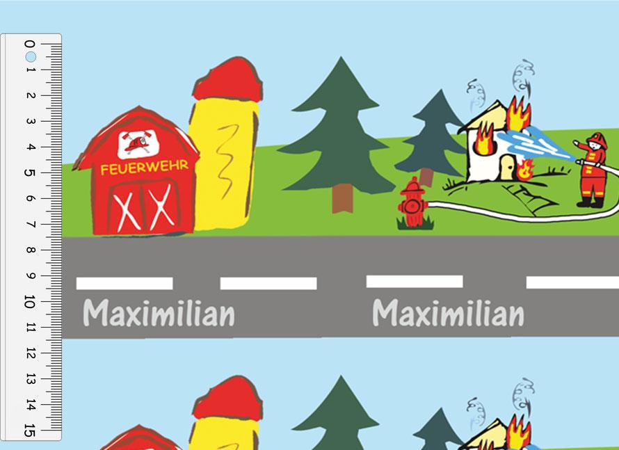 nachhaltiges Geschenkpapier: Feuerwehr - personalisierbar - hergestellt aus recycelten Papieren