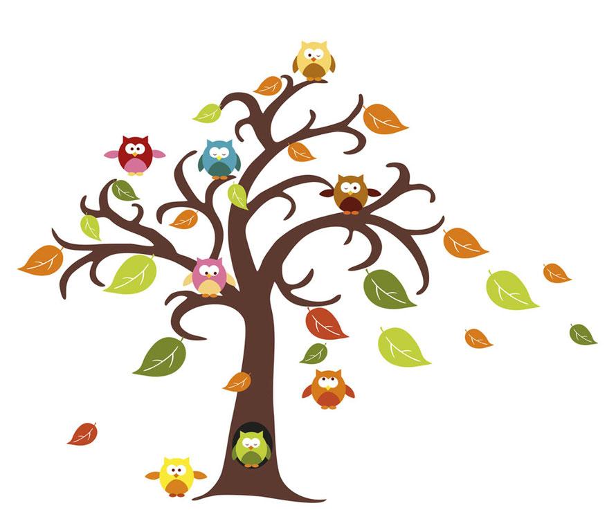 großes Wandaufkleber-Set Baum mit bunten Herbstblättern und lustigen kleinen bunten Eulen
