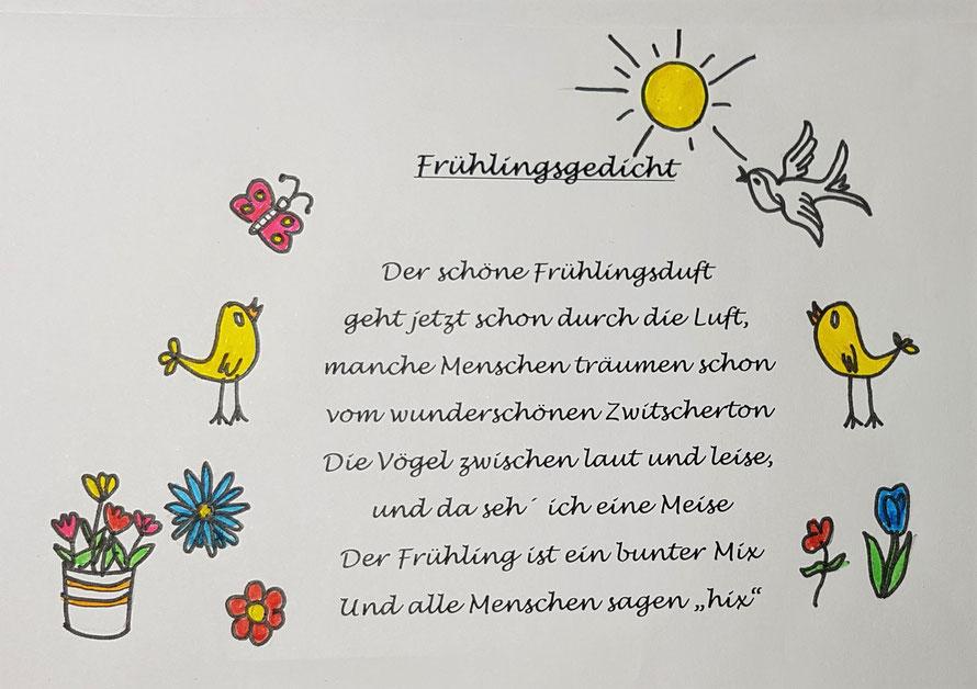 """Danke an unsere Schülerin Lani aus der 5. Klasse für dieses fröhliche Frühlingsgedicht aus dem Workshop """"Kreatives Schreiben"""" vom 6. März 2018."""