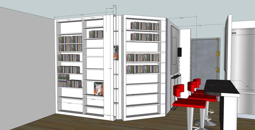 Dessin 3D projet bibliothèque et réalisation