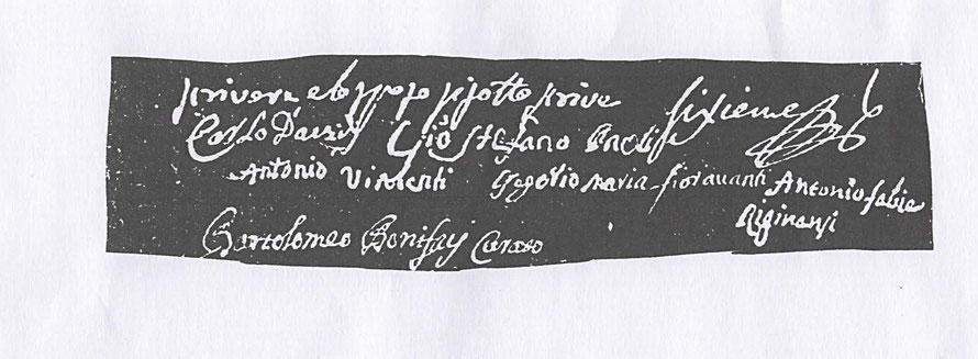 Signature de Ghian-stefanu au bas de l'acte de mariage de Gregoriu-maria Fioravanti et Maria-maddalena Vincenti en date du 15 août 1789.