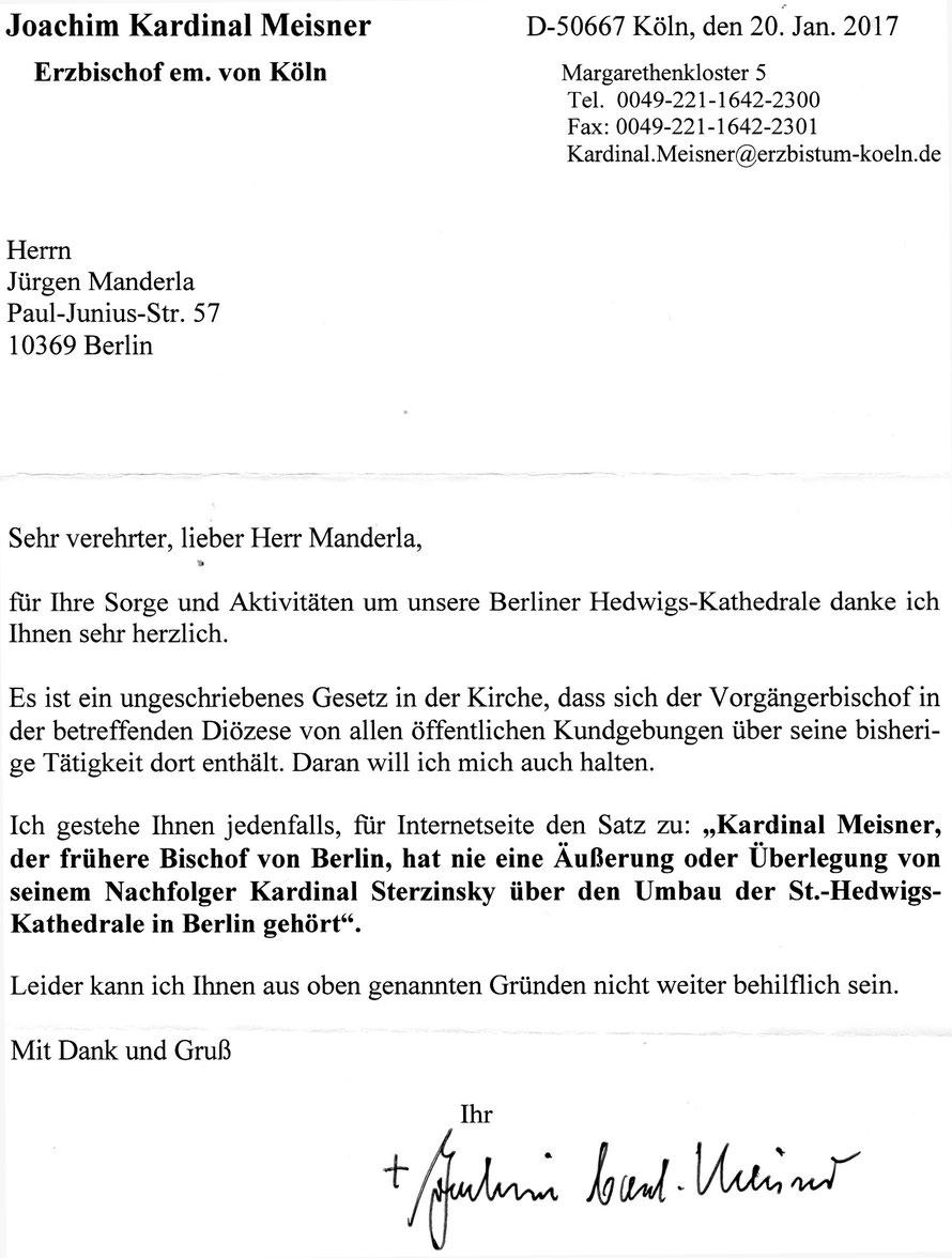 Gescannter Originalbrief von Joachim Kardinal Meisner vom 20.01.2017, mit dem er der Veröffentlichung eines Zitats zustimmte..