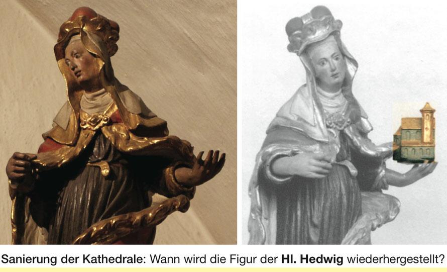 St. Hedwigs-Kathedrale_ Kapelle in der Unterkirche _Plastik der Hl. Hedwig aus Lindenholz _Kirchenmodell wurde 2014 gestohlen