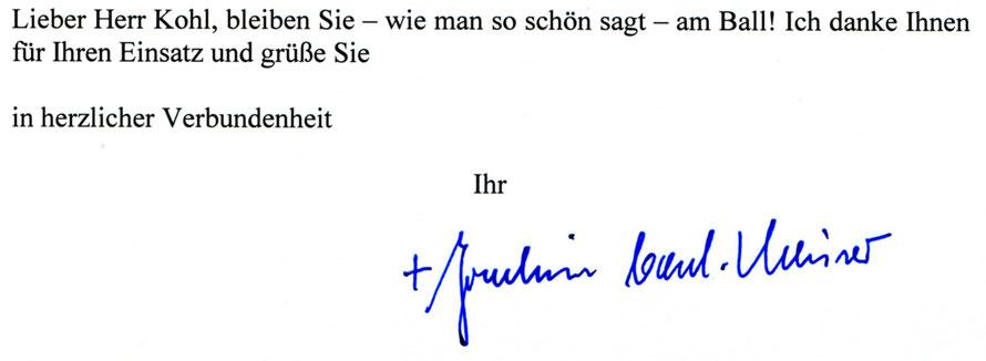 Detail der zweiten Seite des gescannten Originalbriefs von Joachim Kardinal Meisner vom 16.01.2017  aus dem die Zitate stammen.