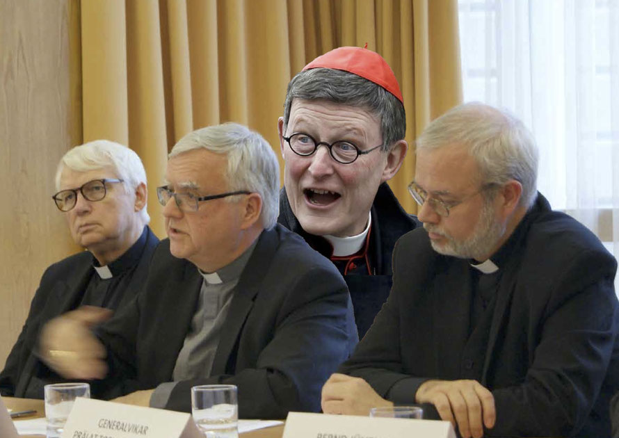 Pressekonferenz am 12.11.2015 (v. l. Dompropst Rother, Erzbischof Koch, Generalvikar Przytarski) im Sinne von Kardinal Woelki, Köln