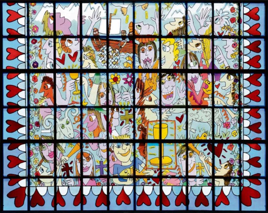 Pop-Art-Kirchenfenster von Jamie Rizzi in Essen  _ Foto:  epd