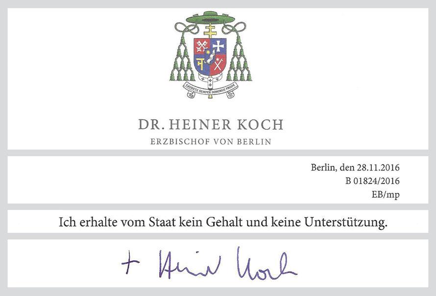 Auszug aus dem Faksimile eines Schreibens des Erzbischofs Dr. Koch vom 28.11.2016  (Vollständige Kopie steht zum Download bereit)
