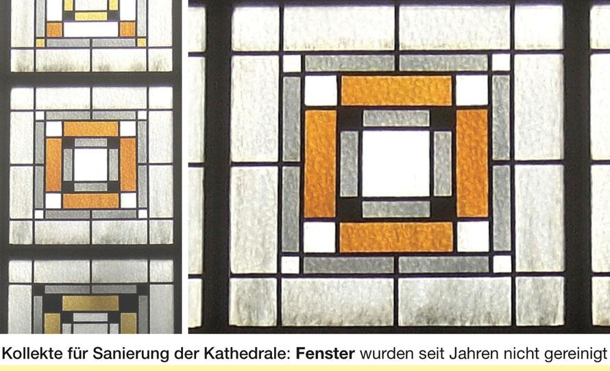 St. Hedwigs-Kathedrale_ Glaskunst von Anton Wendling _Details der insgesamt acht großen Fenster mit Verschmutzungsspuren
