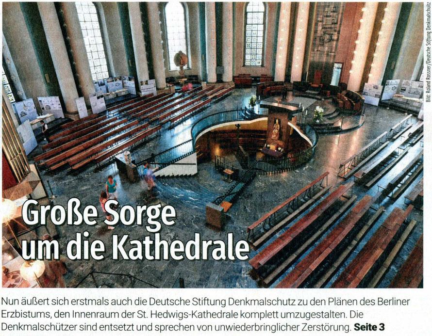 2017-07-22_Berliner Abendblatt_Titelartikel zur Hedwigskathedrale_Deutschlands Denkmalschützer warnen vor Kathedralen-Umbau