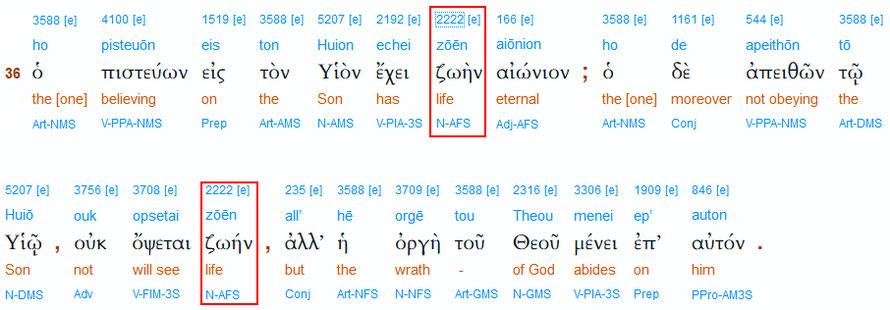 Interlinearübersetzung von Johannes 3,36