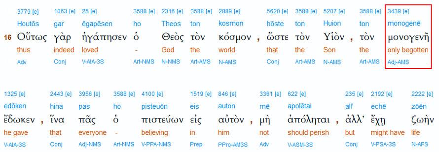 Interlinearübersetzung Johannes 3,16