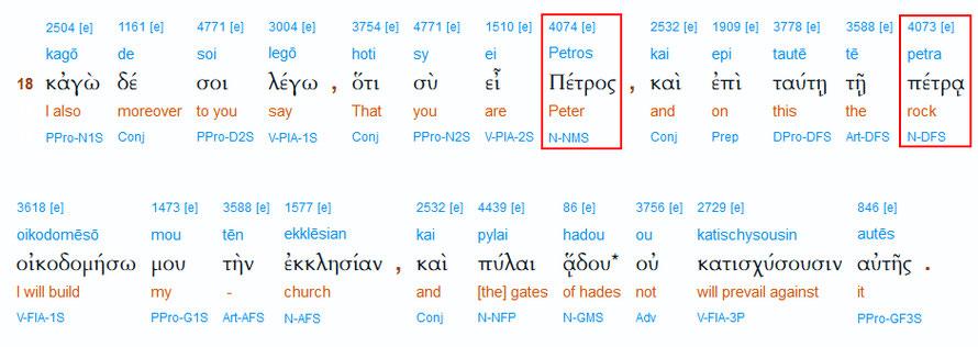 Interlinearübersetzung zu Matthäus 16,18