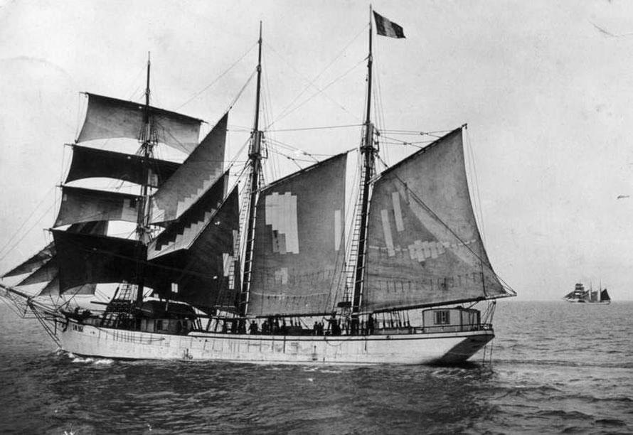 Le saint Briac était un trois-mâts goélette semblable à celui-ci de Saint-Malo au départ pour les bancs