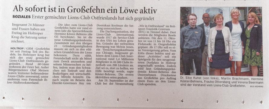Ostfriesen Zeitung, 8.9.2015