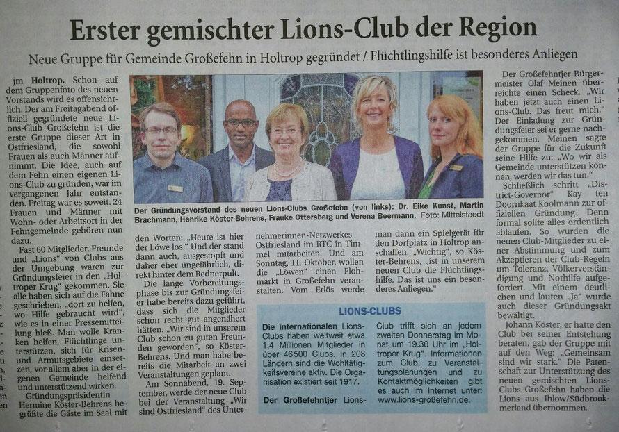 Ostfriesische Nachrichten, 7.9.2015