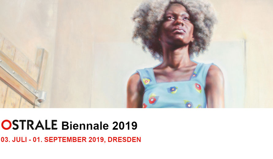 The banner of Ostrale Biennale 2019