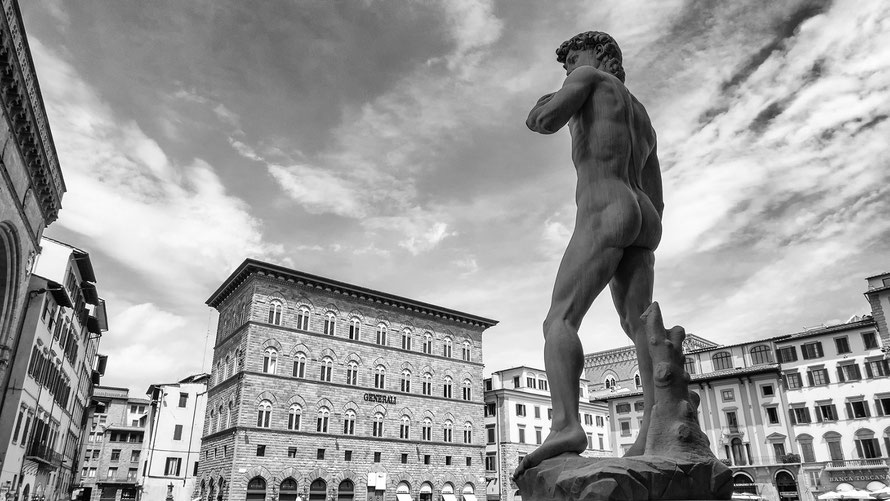 Replica of Michelangelo's David in Piazza della Signoria in Florence, Italy. Back view with a tree trunk behind the standing leg