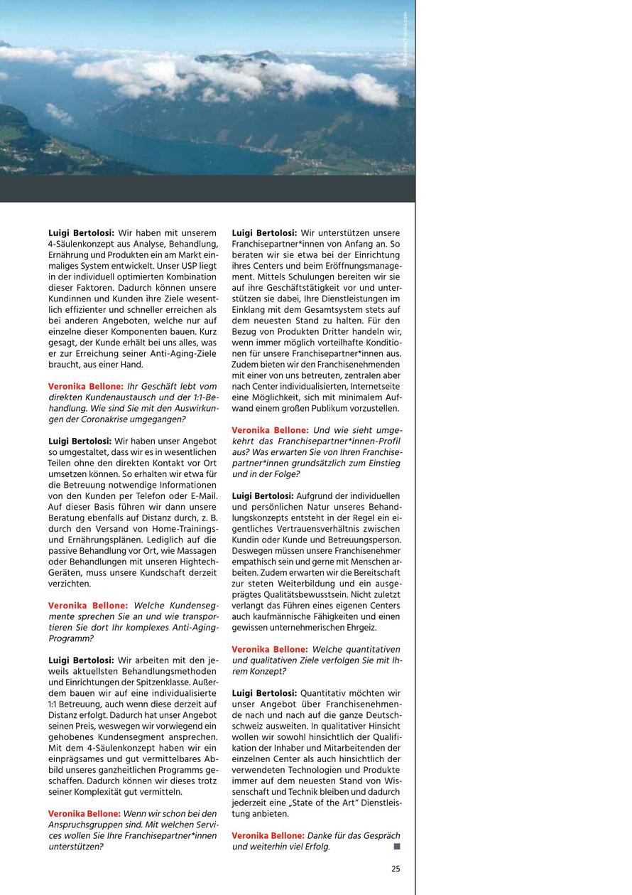 Prof. Veronika Bellone interviewt Luigi Bertolosi für die Zeitschrift FranchiseErfolge 2/20 © Bellone Franchise Consulting GmbH