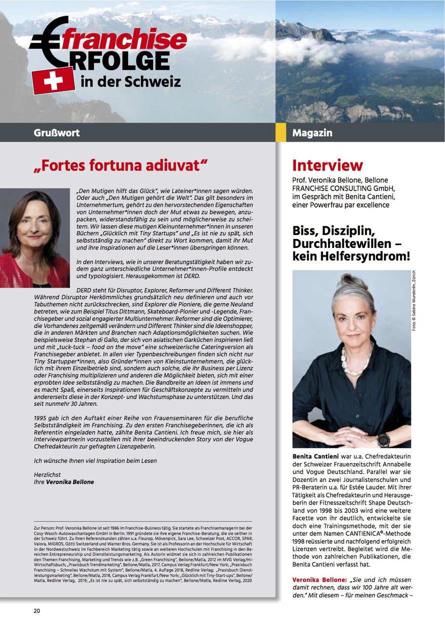 Prof. Veronika Bellone im Gespräch mit Benita Cantieni, franchiseERFOLGE No 100, 19. Jahrgang, Sept.-Nov. 2021, Seite 20