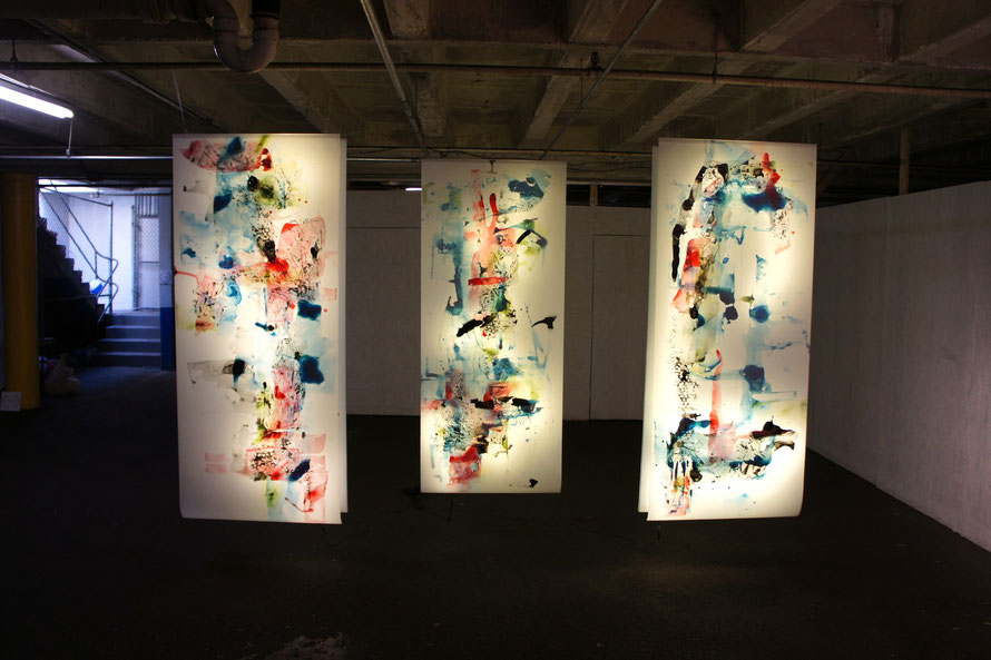 © Joana Fischer, plastic turmoil - Plastikgetuemmel, ink on drafting film, LED backlight, 36 x 85 inches