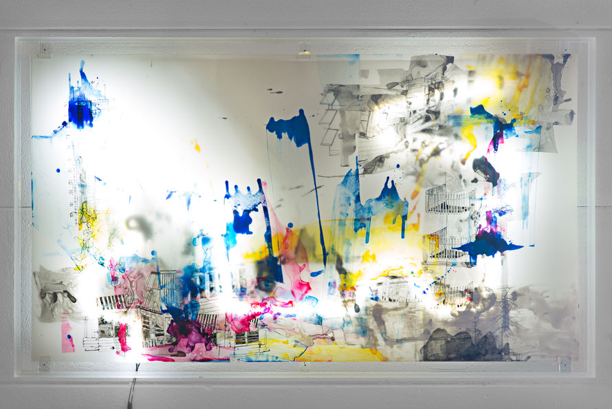 © Joana Fischer, Zerfall und Expansion - Decay and Expansion, 2014, ink and acrylic on drafting film, LED backlight, 42 x 75 inches