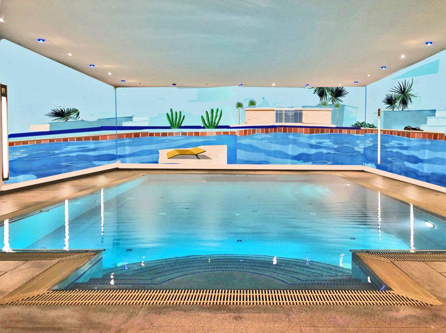 Entwurf für ein Schwimmbad nach David Hockney