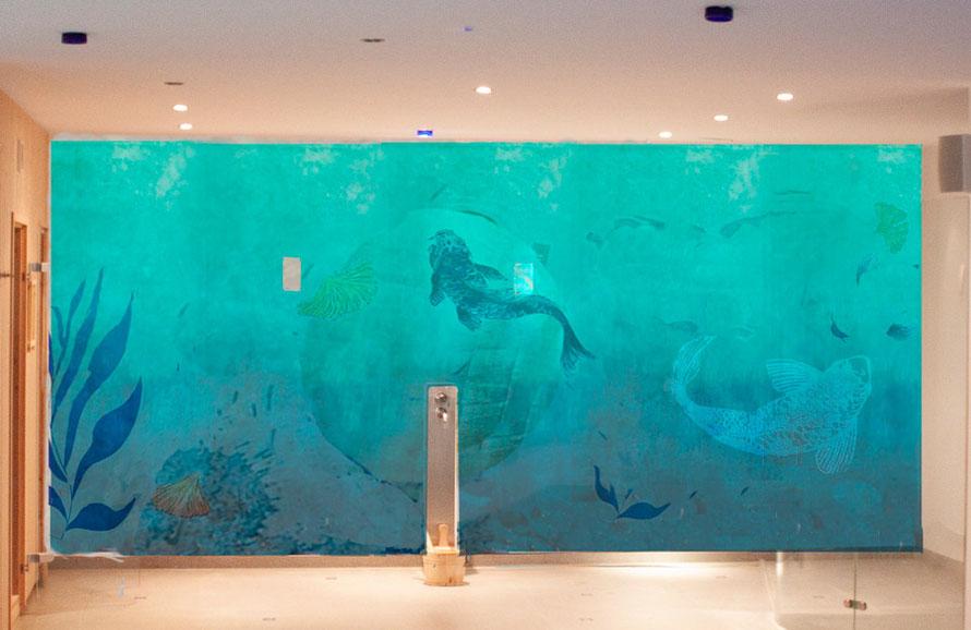 Grün-blaues Wandbild, Aquarium vom Studio Alina Cesár