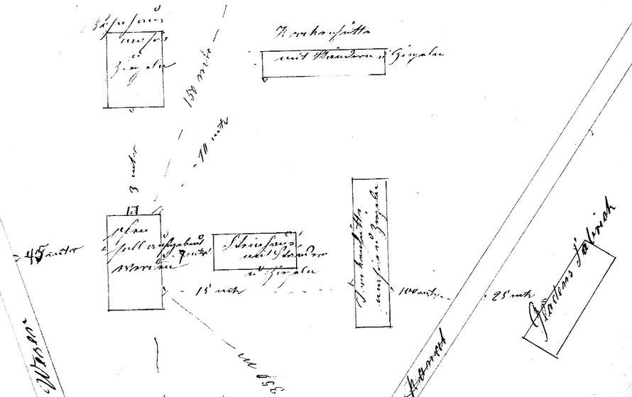 Plan-Skizze der Inselziegelei aus dem Antrag auf Errichtung eines Ringofens, 1884  304
