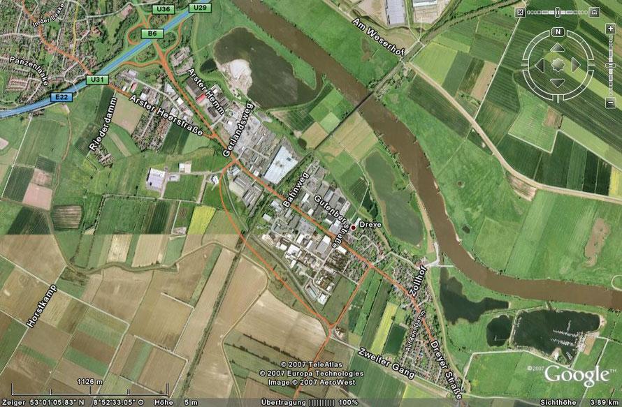 Das Satellitenbild zeigt die Umgebung Dreyes über den Zweiten Gang und südlich der Gewerbegebiete  bis zur Dreyer Straße, kurz vor der Abbiegung zur Arster Heerstraße. Der Anschluss dort ist heute durchgehend bis zum Autobahnzubringer.