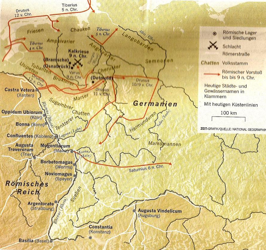 Karte der Römerzüge und Römerkastelle in Augusteischer Zeit
